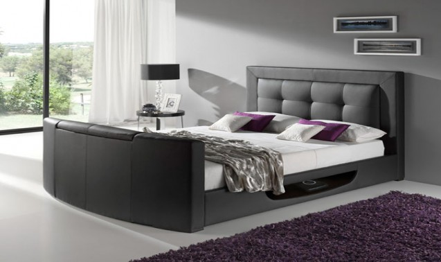 Star Collection Bowburn 6FT Superking Leather TV Bed - Black
