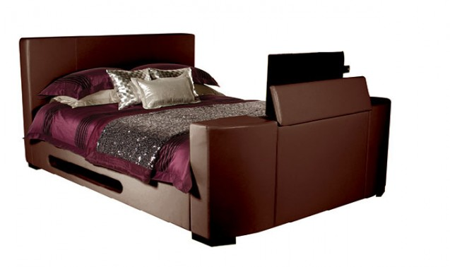 Star Collection Palermo 5FT Kingsize Brown Faux Leather TV Bed   